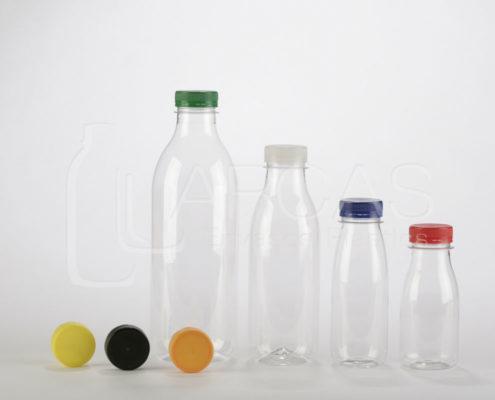 Botella cilíndrica en PET transparente tapón a rosca